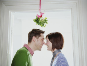 kissing under mistletoe